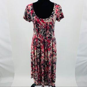 Anthropologie Sparrow Pink Scoop Neck Midi Dress
